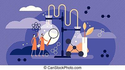 平ら, illustration., 科学, 医学, 薬局, scientists., ベクトル, 例