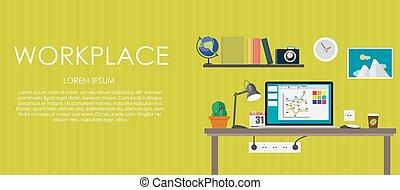 平ら, illustration., 計算, workplace., バックグラウンド。, ベクトル