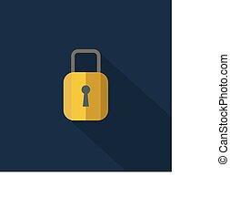 平ら, illustration., 長い間, ナンキン錠, ベクトル, デザイン, 影, スタイル, icon., アイコン