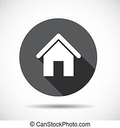 平ら, illustration., 長い間, ベクトル, 家, shadow., アイコン