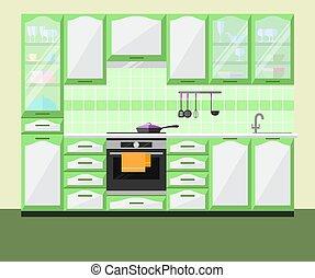 平ら, illustration., equipment., ベクトル, 内部, 家具, 台所