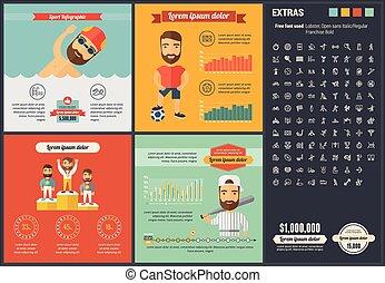 平ら, infographic, デザイン, テンプレート, スポーツ