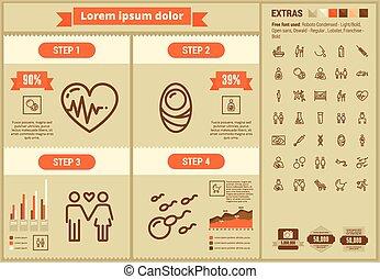 平ら, infographic, デザイン, テンプレート, 母性