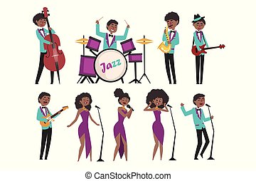 平ら, instruments., saxophonist, ジャズ, 歌うこと, イラスト, ミュージカル, ベクトル, 特徴, 芸術家, ドラマー, 漫画, singers., contrabassist, 遊び, guitarists