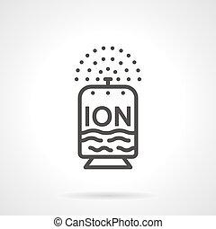 平ら, ionizer, ベクトル, デザイン, 線, アイコン