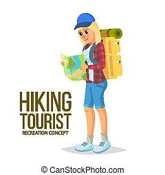 平ら, lifestyle., ハイキング, 健康, 先導, イラスト, downshifting., vector., 女の子, 漫画