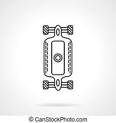 平ら, longboard, ベクトル, デザイン, 線, アイコン