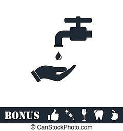 平ら, mandatory, 洗いなさい, 手, あなたの, アイコン