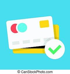 平ら, mark., クレジット, ベクトル, 緑, デザイン, チェックカード, アイコン