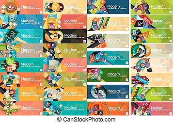 平ら, mega, コレクション, infographic, デザイン, 旗
