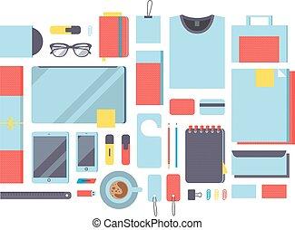 平ら, mockup, デザイン, ベクトル, イラスト, 概念アイコン, セット, の, ビジネス, 仕事, elements.