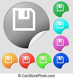 平ら, multi, セット, 有色人種, ボタン, フロッピー, 現代, ベクトル, 8, icon., stickers., ラウンド, design.