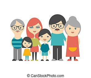 平ら, multi, 世代, family., grandparents., 親, 子供, design.