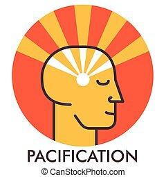 平ら, pacification., tranquility., elements., 甘い, concept., sunrise., デザイン, icon., 線, アイコン, face., design.