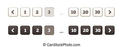 平ら, pagination, バー, -, スタイル, ボタン, 柔らかい