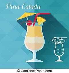 平ら, pina, イラスト, ガラス, デザイン, colada, style.
