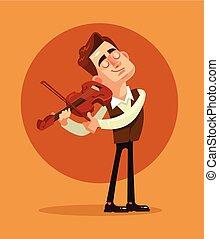 平ら, playing., イラスト, バイオリン奏者, ベクトル, 漫画