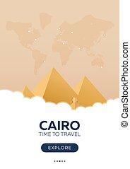 平ら, poster., illustration., 旅行, cairo., travel., egypt., ベクトル, 時間