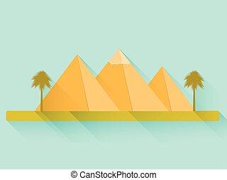 平ら, pyramids., エジプト人