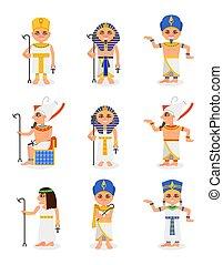 平ら, queens., セット, エジプト人, 男性, egypt., 伝統的である, 定規, ベクトル, 特徴, 頭飾り, 古代, ファラオ, 女性, 漫画, 衣服