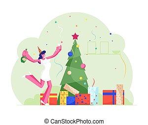 平ら, santa, オフィス, ダンス, 漫画, 陽気, 女, 年, 朗らかである, ベクトル, 祝福, パーティー, クリスマス, 飾られる, シャンペン, wineglass, びん, 幸せ, 木, クリスマス, イラスト, 帽子, 祝いなさい, 新しい