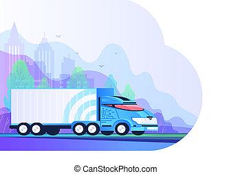 平ら, service., 自動車, delivery., ベクトル, トラック, ロジスティックである, インターナショナル, style., 道, illustration.