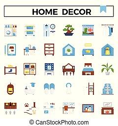 平ら, set., 装飾, デザイン, 家, アイコン