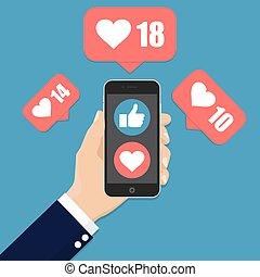 平ら, smartphone, のように, 手, デザイン, 保有物, アイコン