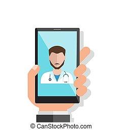 平ら, smartphone, illustration., 医者, 手, ベクトル, 呼出し, 保有物, オンラインで...