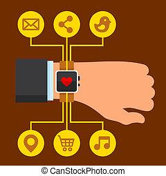 平ら, smartwatch, 腕, ベクトル, デザイン, infographics, style.