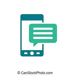 平ら, sms, モビール, テキスト, -, 隔離された, イラスト, バックグラウンド。, ベクトル, スピーチ, コミュニケーション, メッセージ, 泡, 白, アイコン
