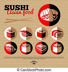 平ら, sushi., メニュー, set., デザイン, 日本, アイコン