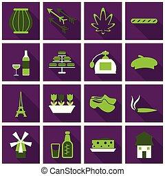 平ら, tabaco, セット, アイコン, パリ, スタイル, holand, びん, shies
