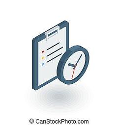 平ら, to-do, クリップボード, リスト, 時計, 等大, ベクトル, icon., 3d