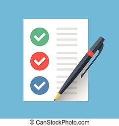 平ら, to-do, チェックリスト, 完了された, 現代, リスト, checkmarks, ベクトル, デザイン, ...