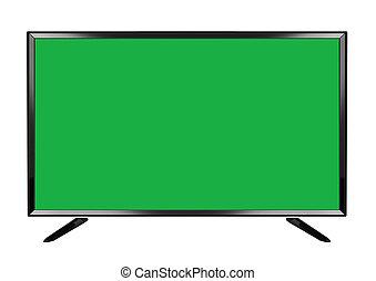 平ら, tv スクリーン, 隔離された, oled, 緑の背景, 白, 痛みなさい