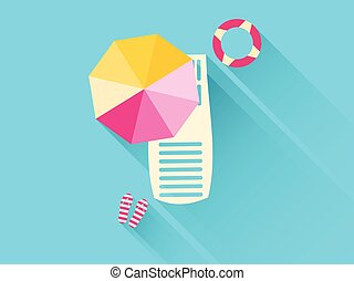 平ら, umbrella., アイコン, lifebuoy., 長い間, ラウンジ, ベクトル, イラスト, chaise, 浜, shadow.