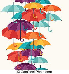 平ら, umbrellas., パターン, seamless, 多色刷り, かわいい