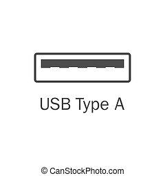 平ら, usb, イラスト, a.。, ベクトル, icon., タイプ, 港, design.