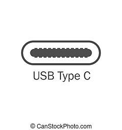 平ら, usb, c., イラスト, ベクトル, icon., タイプ, 港, design.