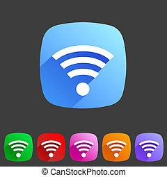 平ら, wifi, 無線, アイコン