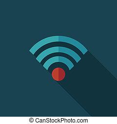 平ら, wifi, 長い間, 無線, 影, アイコン