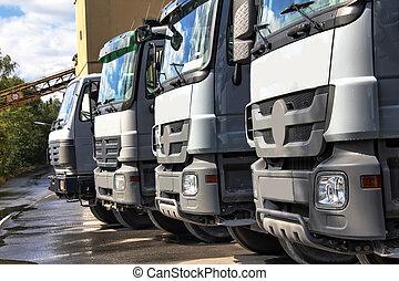 平原, 灰色, 卡車, 在一行中