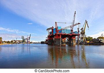 平台, 在, the, 造船厂