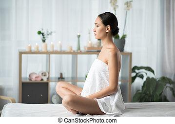 平和である, 若い女性, 瞑想する, ∥において∥, エステ