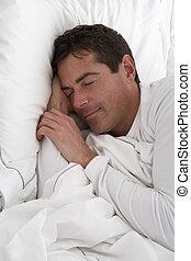 平和に, 人, ベッド, 睡眠