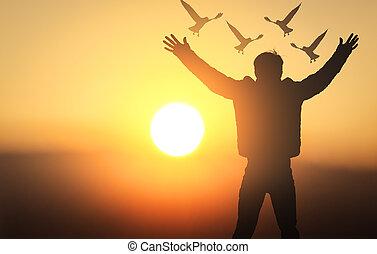 平和, シルエット, 男性, 若い, インターナショナル, 祈ること, 日, concept: