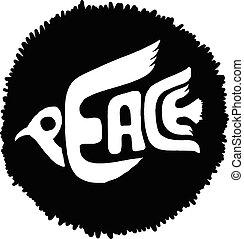 平和, シルエット, 飛行, 黒, doodles, 鳩