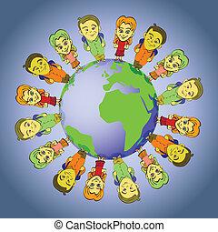 平和, 世界的である, -, イラスト, symbolizing, 統一, 子供