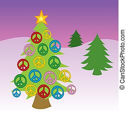 平和, 木, クリスマス, 印